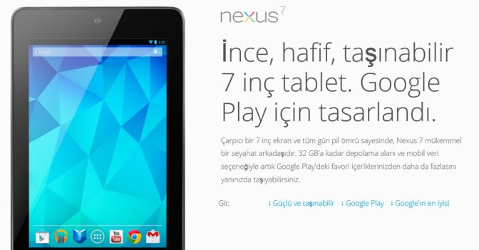 Nexus 7 Tablet Android 4.3 Jelly Bean İşletim Sistemiyle Geldi